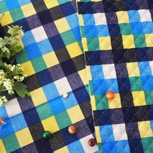 画像2: ビッグチェック ブルー【エプロン&三角巾】手作りキット 手芸キット 中厚手生地【F】