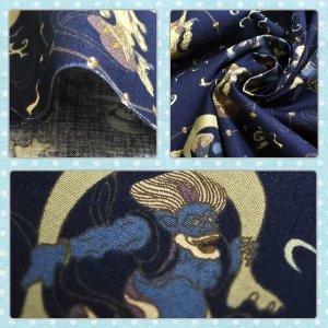 画像2: 風神雷神 ネイビー 【くるくるスタイ】手作りキット 薄手生地 ベビー 手作りキット 国産
