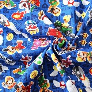 画像2: スーパーマリオメーカー ブルー【体操服袋/ナップサック】材料セット 中厚手生地【A】