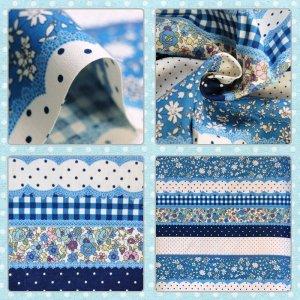 画像2: 小花のボーダー ブルー【移動ポケット】手作りキット薄手生地+裏地【I】