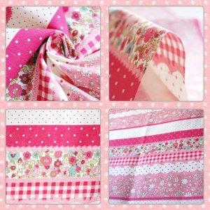 画像2: 小花のボーダー ピンク【給食袋】手作りキット 薄手生地+裏地【B】