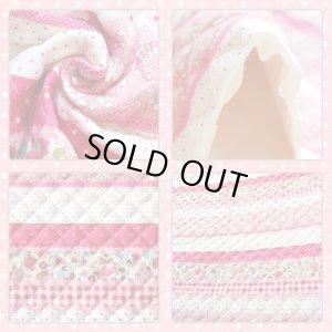 画像2: ★サンプル品販売★小花のボーダー ピンク【ランチバッグ】キルティング【A】