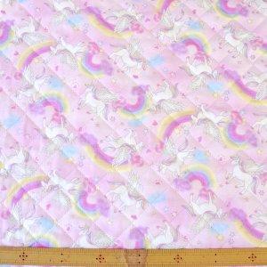 画像2: 虹とユニコーン ピンク【レッスンバッグ】手作りキット 入園入学 手芸キット キルティング