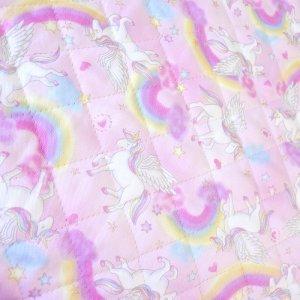 画像2: 虹とユニコーン ピンク【シューズバッグ】手作りキット 入園入学 手芸キット キルティング