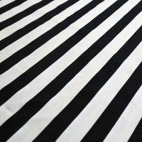 ワイド ストライプ 白黒【カット生地】 縦50cm×横105cm 中厚手生地